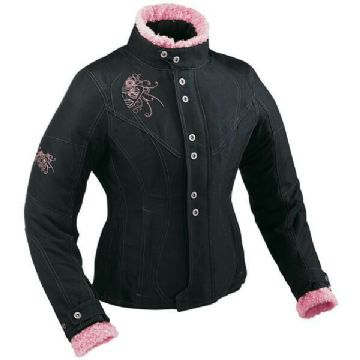 Ixon Ladies Vega Curl Waterproof Textile Motorcycle Motorbike Jacket Black Pink